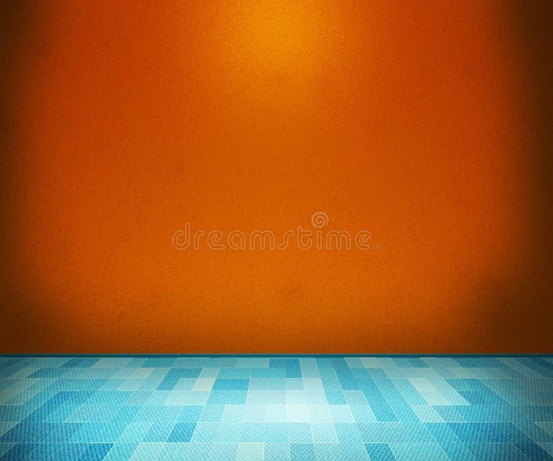 有蓝色楼层的橙色空间 免版税库存图片
