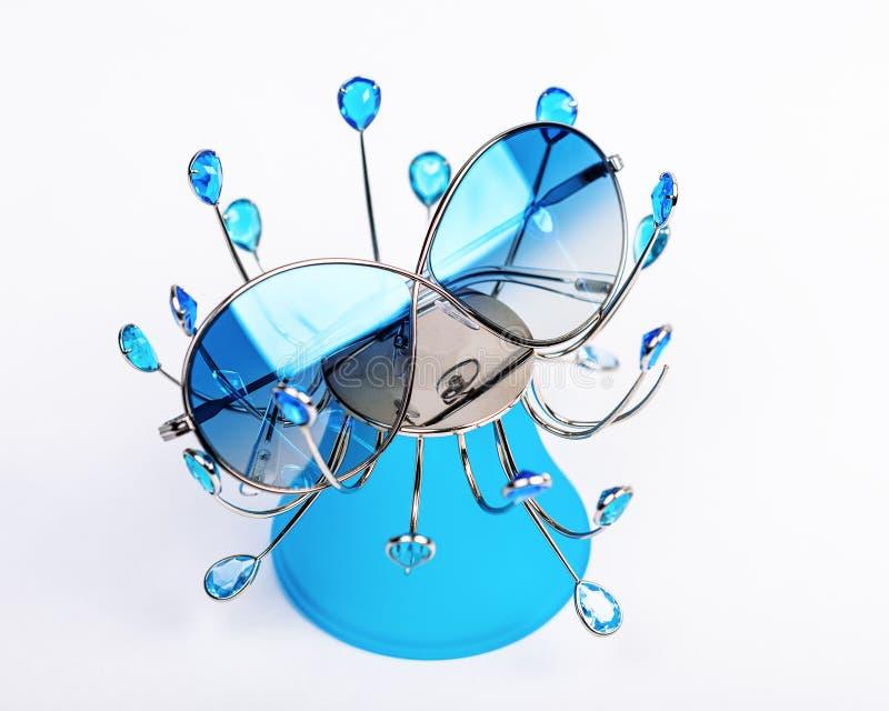 有蓝色玻璃的太阳镜在一个蓝色立场 库存照片