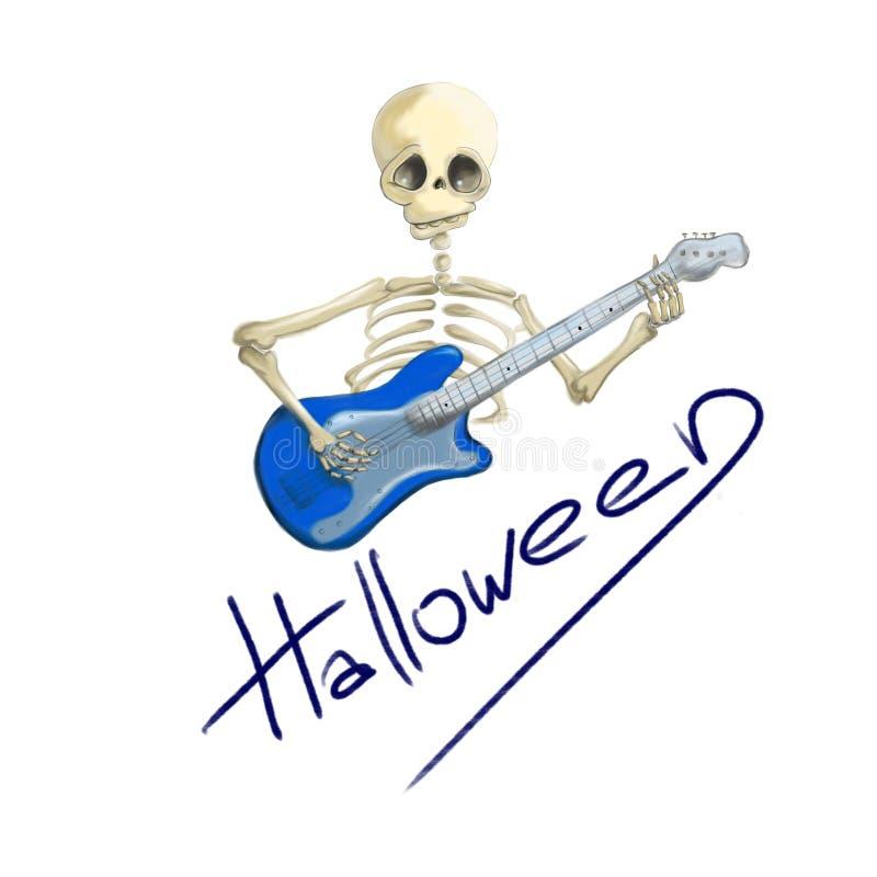 有蓝色电吉他的万圣夜被说明的骨骼 库存例证