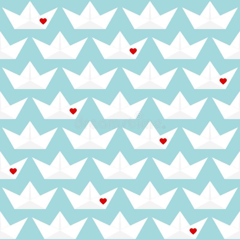 有蓝色的心脏的减速火箭的无缝的样式纸小船 库存例证