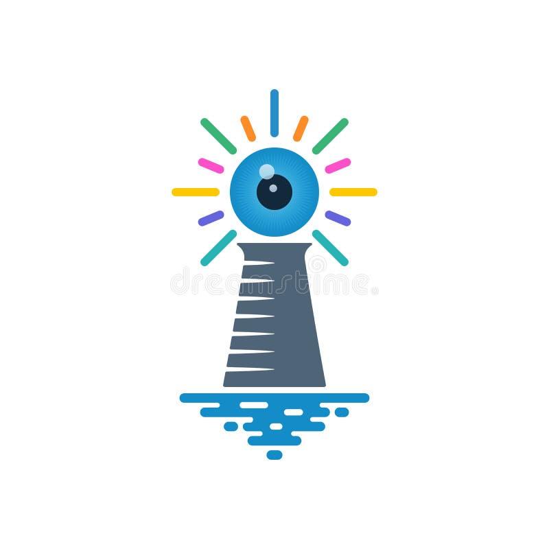 有蓝色眼珠的灯塔 库存例证