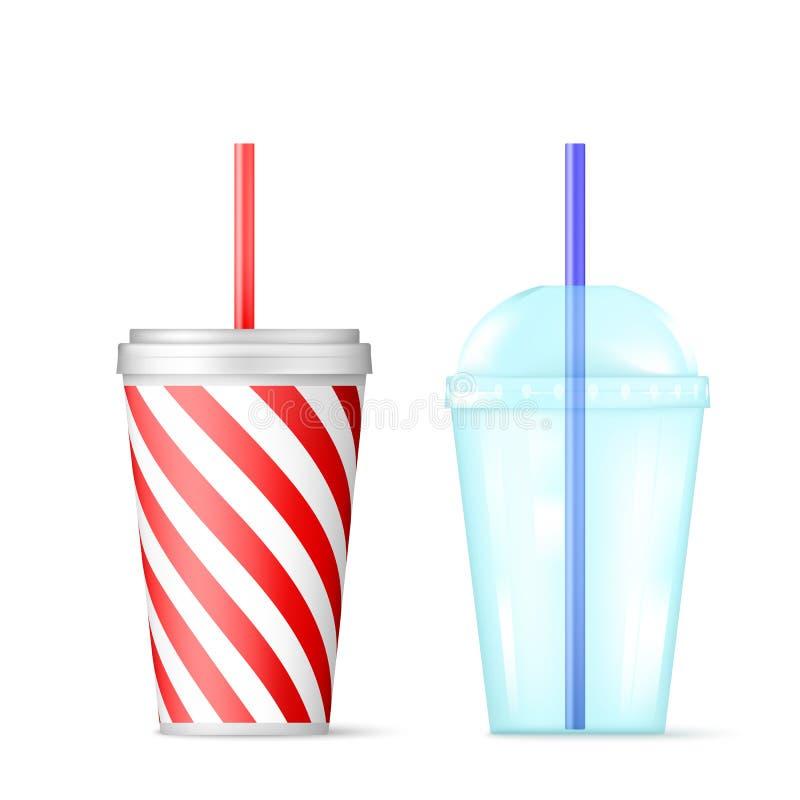 有蓝色秸杆的塑料透明一次性杯子鸡尾酒和红色一次性容器的冰饮料的 r 向量例证