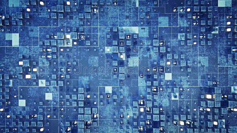 有蓝色立方体的3D未来派科学幻想小说墙壁回报 库存例证
