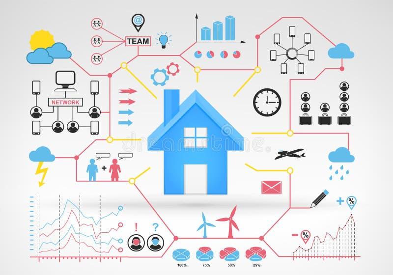 有蓝色红色infographic象和图表的房地产房子 皇族释放例证