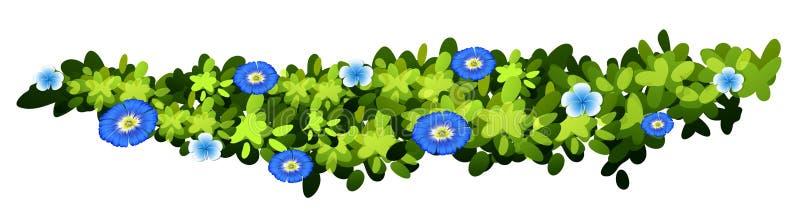 有蓝色花的植物 向量例证