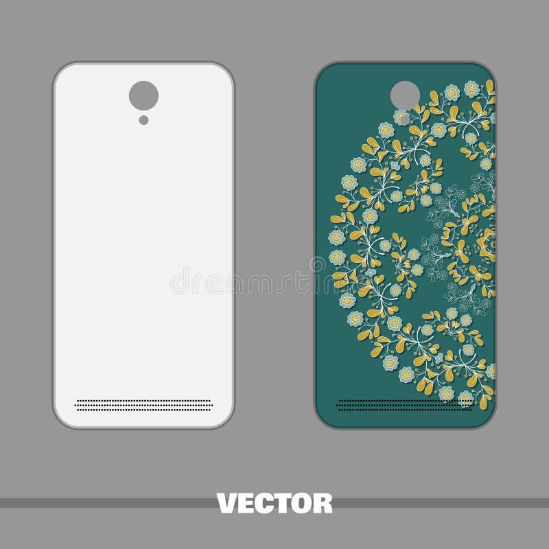 有蓝色花的电话盖子 向量例证