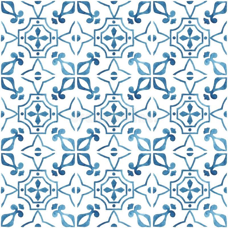 有蓝色装饰品的手画水彩瓦片 库存图片