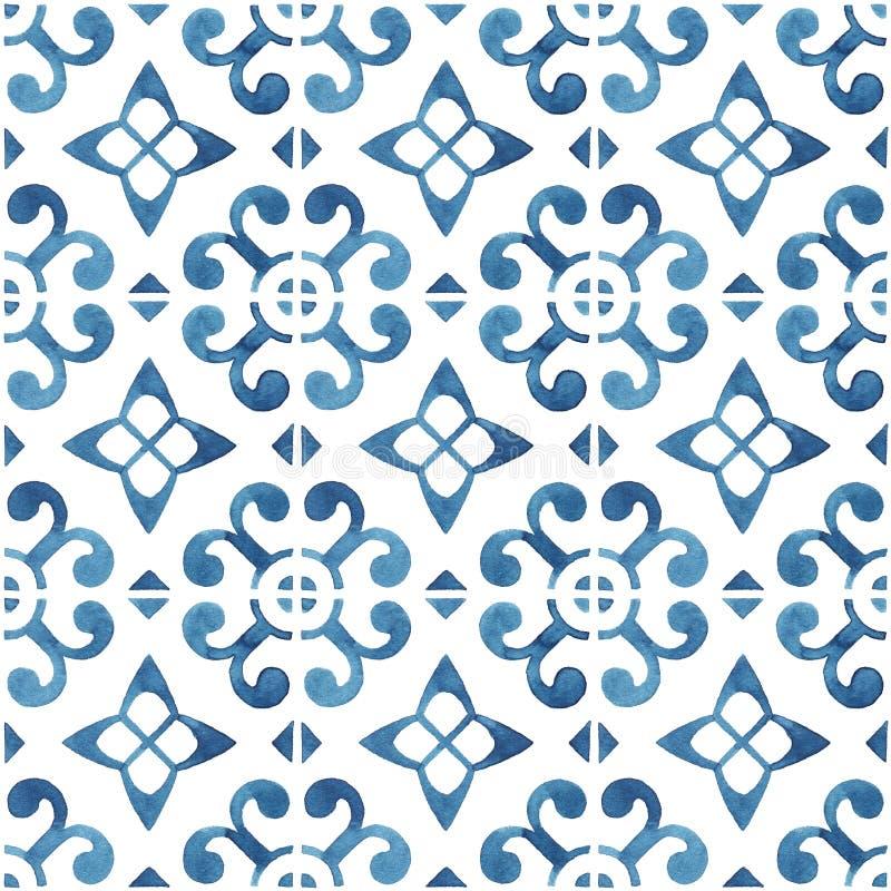 有蓝色装饰品的手画水彩瓦片 免版税库存照片