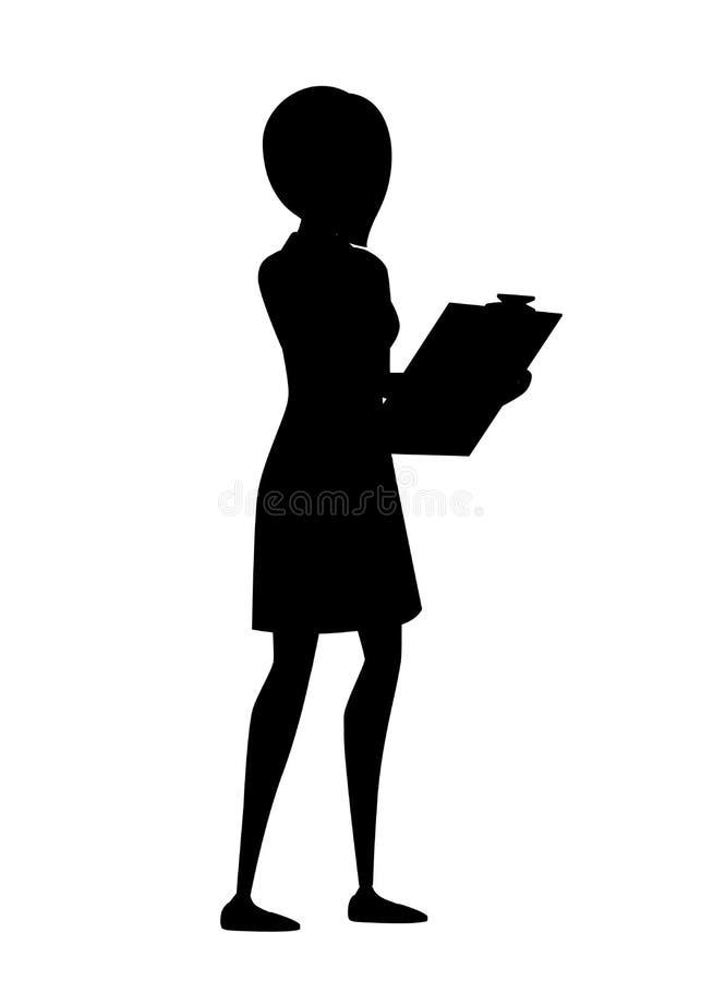E E 有蓝色裤子的白色医疗褂子 女性医生举行蓝色清单动画片 皇族释放例证
