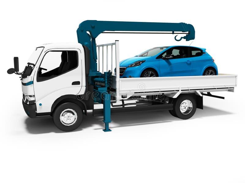 有蓝色起重机的现代白色拖车有在拖车3d的被装载的汽车的回报在与阴影的白色背景 皇族释放例证