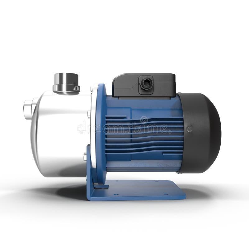 有蓝色颜色一台电动机的水泵在白色的 库存图片