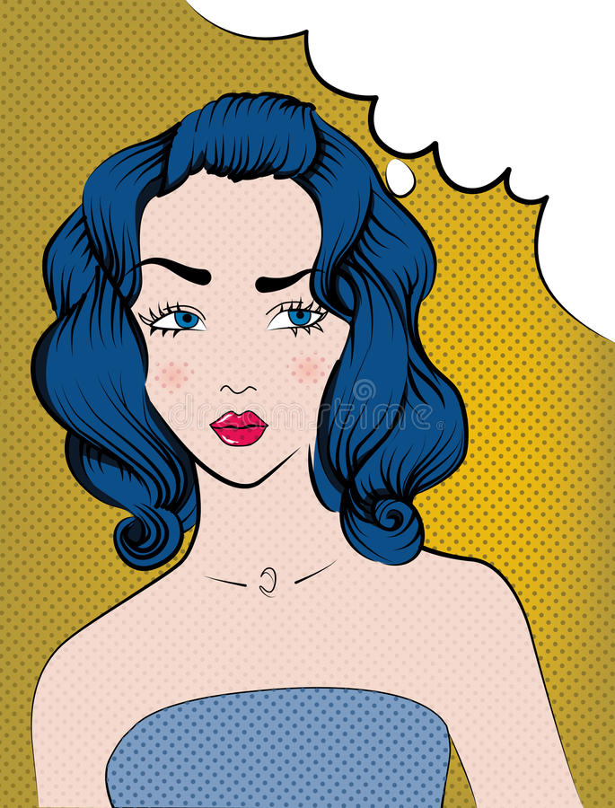 有蓝色头发的妇女 库存照片
