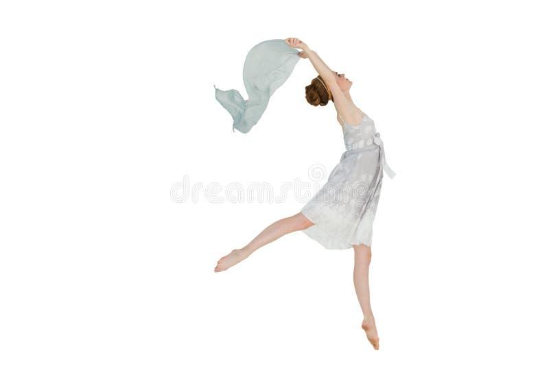 有蓝色围巾的年轻美丽的女性舞蹈家 库存照片