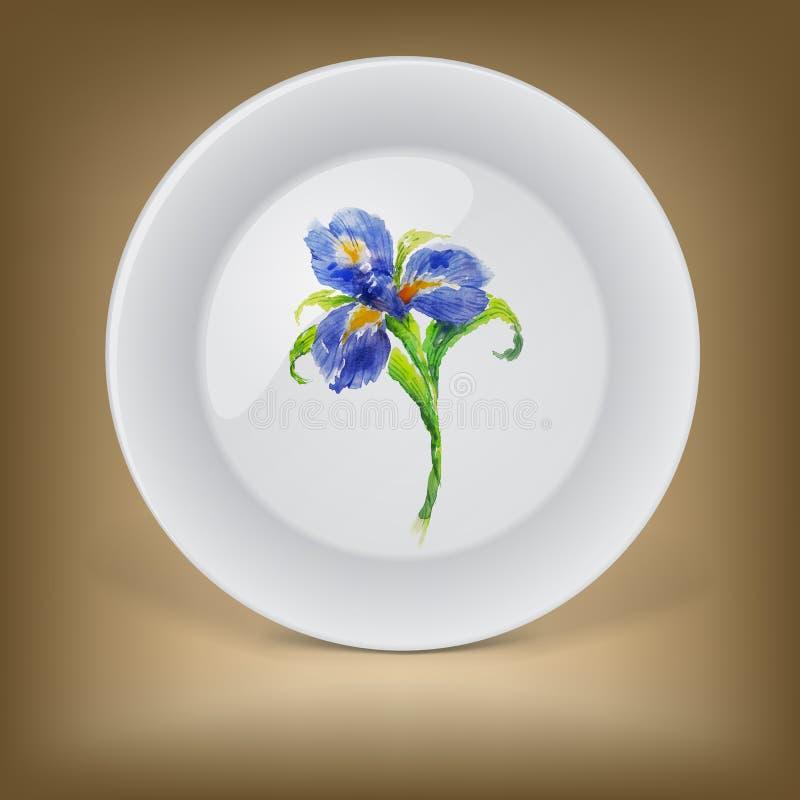 有蓝色水彩虹膜花的装饰板材 向量例证