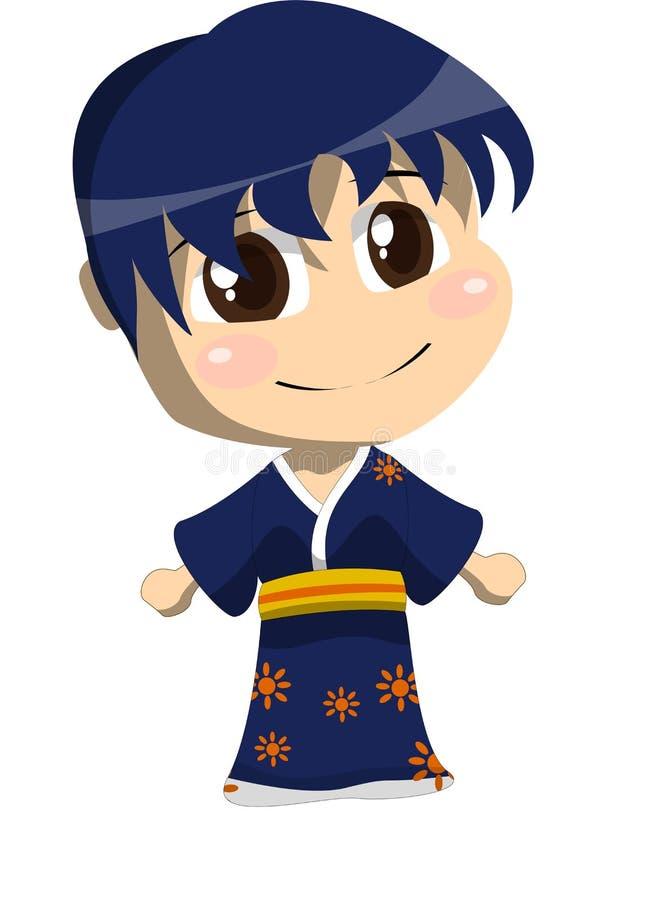 有蓝色Yukata的一个男孩 向量例证