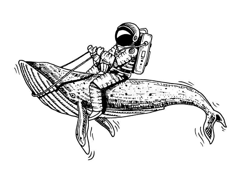 有蓝鲸的宇航员太空人 天文学星系空间 滑稽的宇航员探索冒险 刻记手拉  向量例证