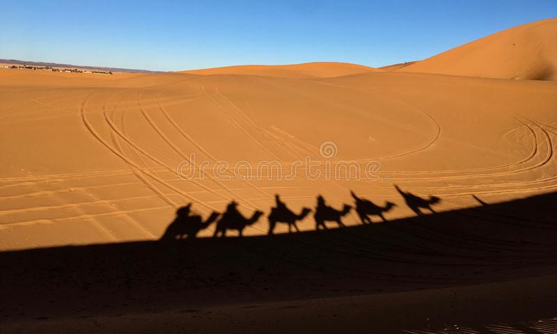 有蓬卡车的阴影在撒哈拉大沙漠的热的沙子的 图库摄影