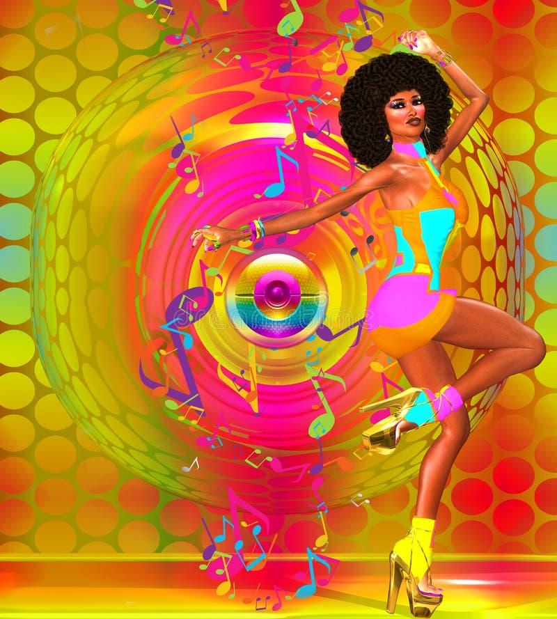 有蓬松卷发的性感的减速火箭的迪斯科舞蹈家 库存例证