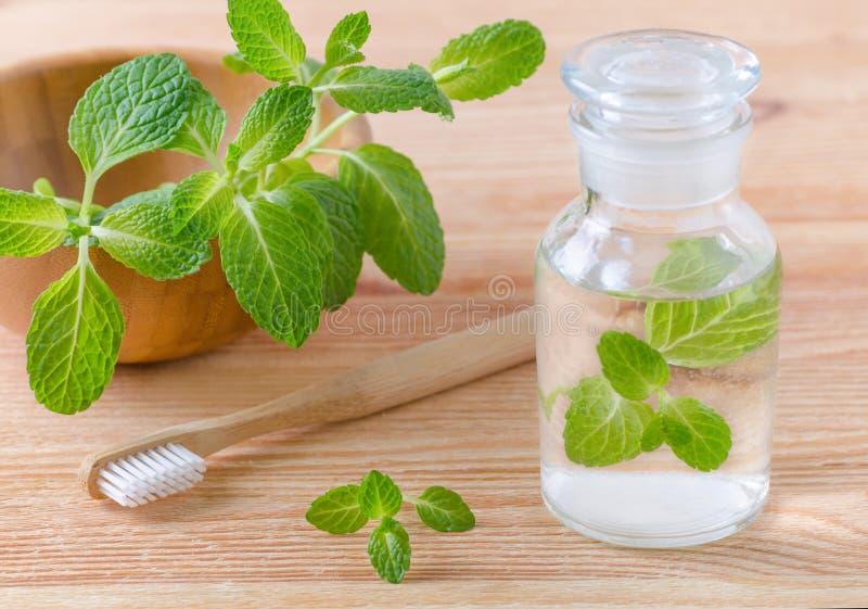 有薄荷和木牙刷特写镜头的供选择的自然漱口瓶在木 图库摄影