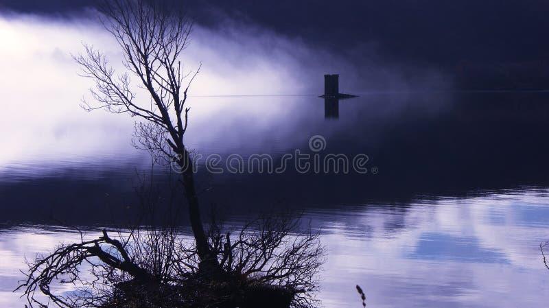 有薄雾令人毛骨悚然的湖 免版税库存照片