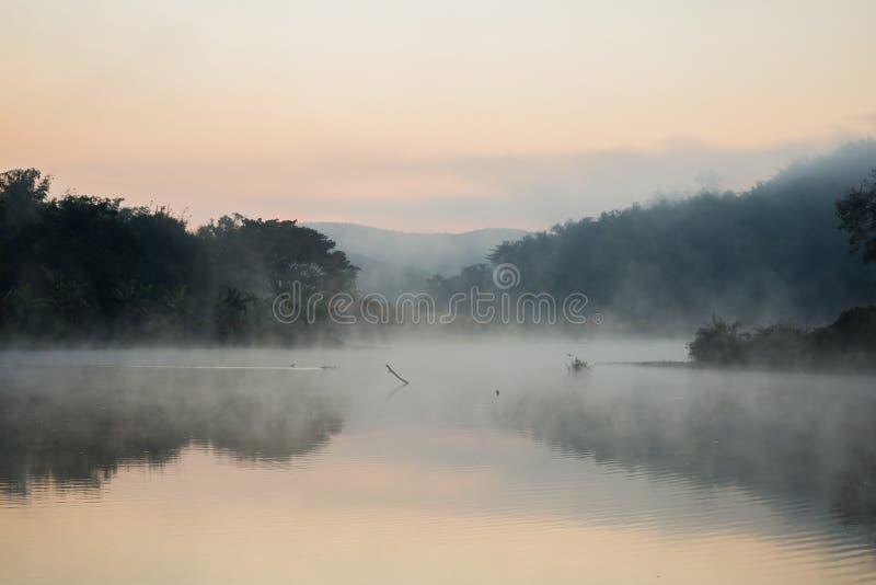 有薄雾在河 免版税库存图片