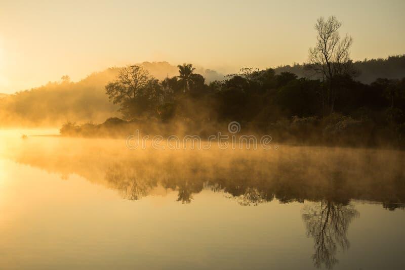 有薄雾在河 图库摄影