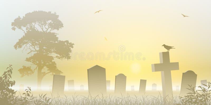 有薄雾的墓地 库存例证