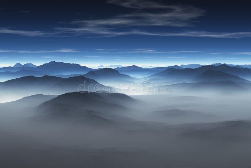 有薄雾的山