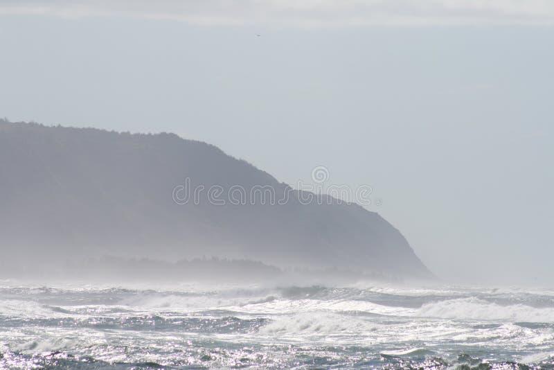 有薄雾的海滨 库存照片
