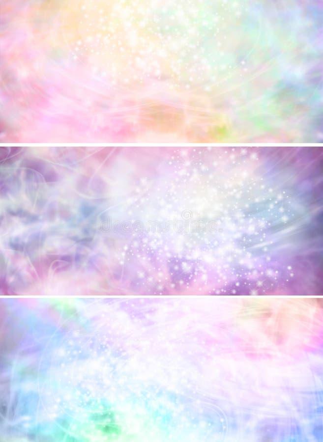有薄雾的闪耀的柔和的淡色彩上色了背景横幅x 3 库存照片