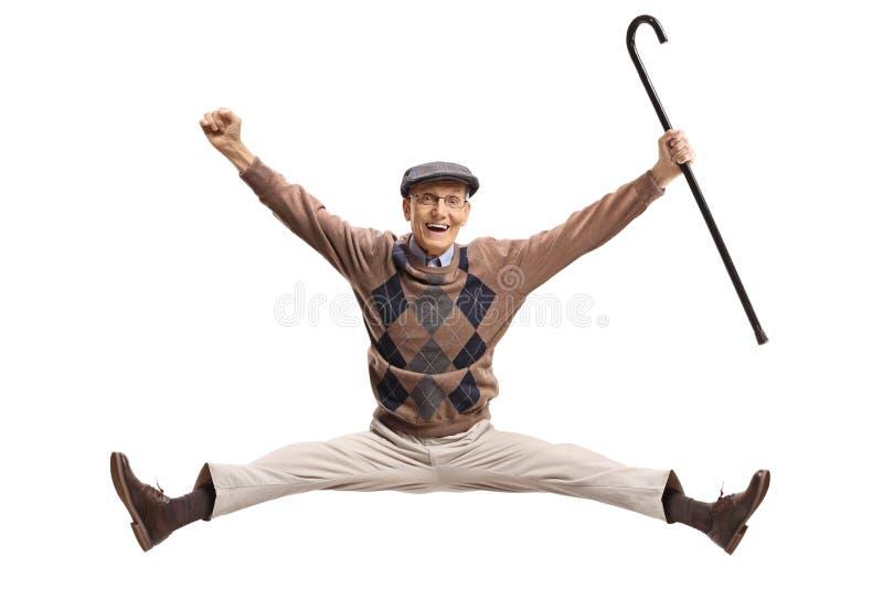 有藤茎跳跃的极度高兴的前辈 免版税库存图片
