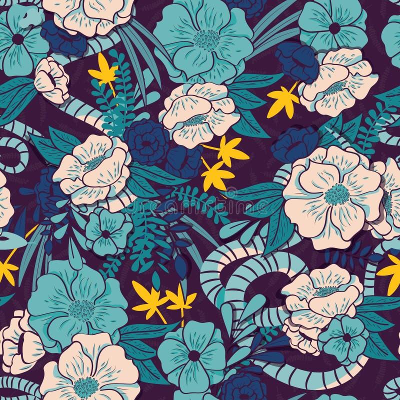 有蛇无缝的样式、热带花和叶子的,植物手拉充满活力花卉密林 向量例证