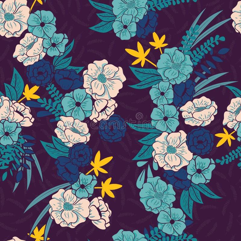 有蛇无缝的样式、热带花和叶子的,植物手拉充满活力花卉密林 库存例证