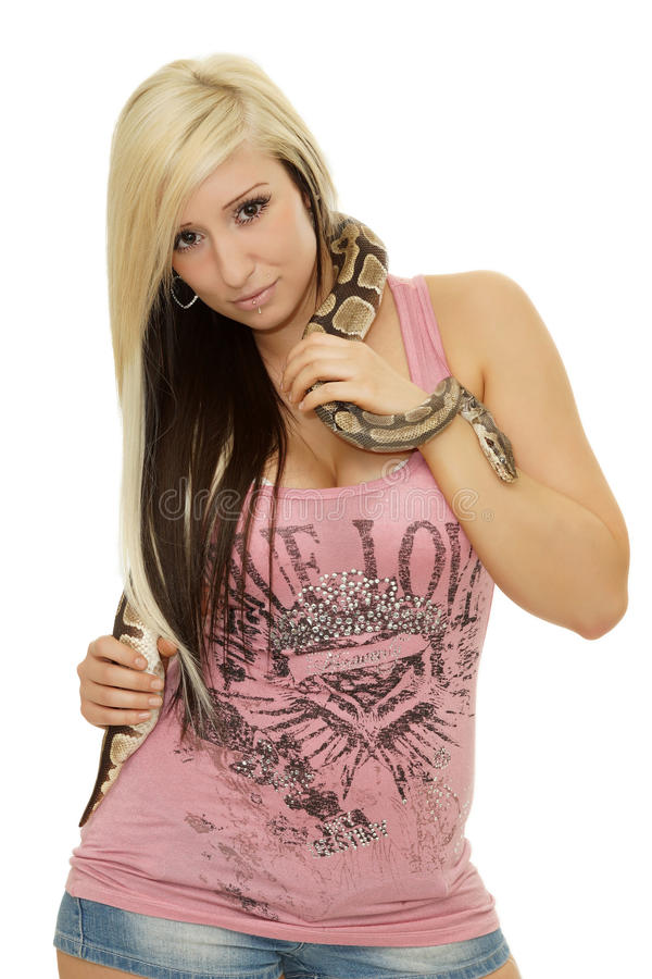 有蛇的秀丽女孩 库存图片