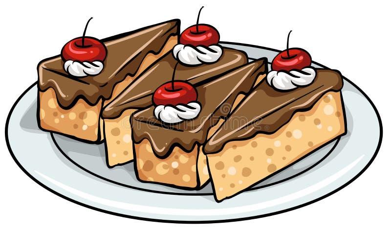 有蛋糕的一块板材 库存例证