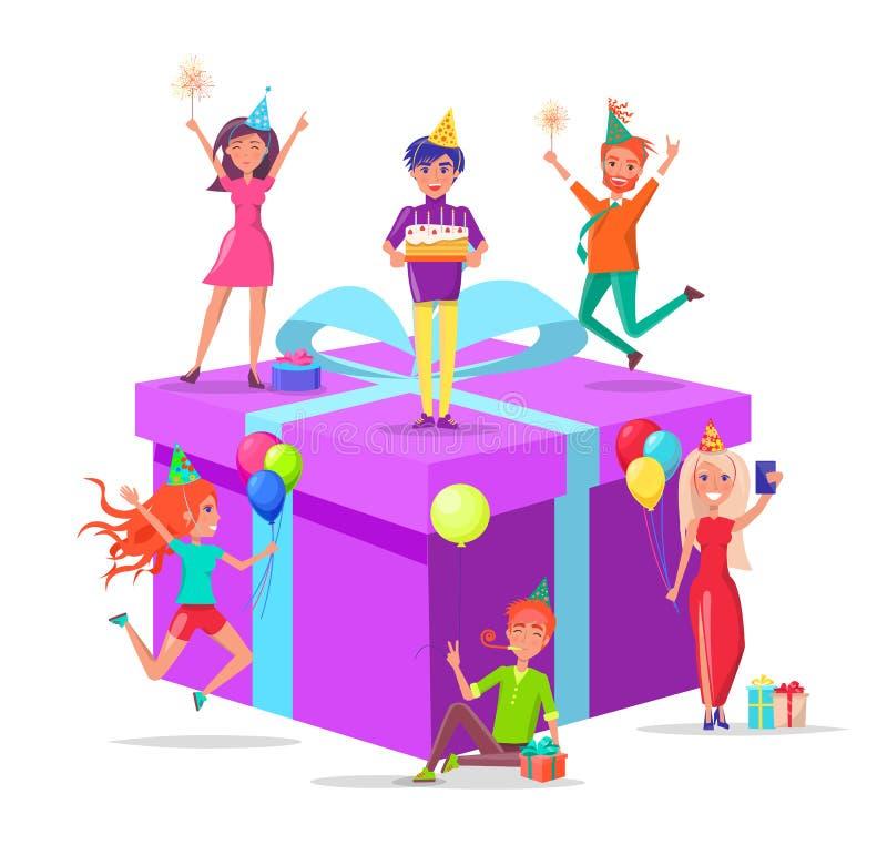 有蛋糕的人准备的生日礼物 向量例证