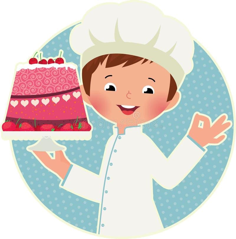 有蛋糕的厨师 向量例证