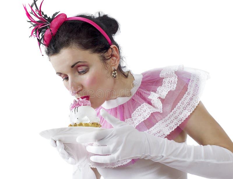 有蛋糕的女孩 库存照片