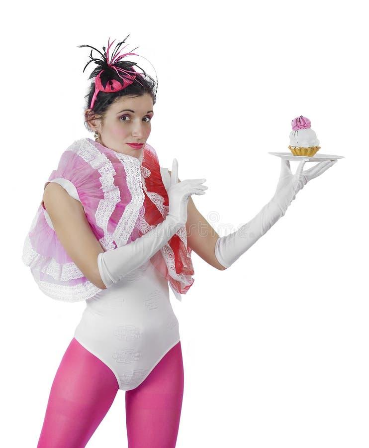 有蛋糕的女孩 免版税库存图片
