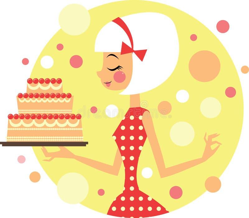 有蛋糕的女孩 库存例证