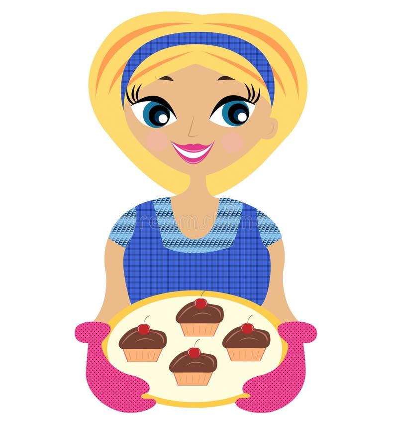 有蛋糕的少妇在手中 库存例证