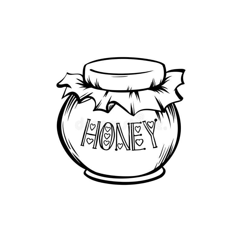 有蜂蜜概述或被刻记的激光的玻璃瓶子削减了传染媒介象 Superfood有机产品 向量例证