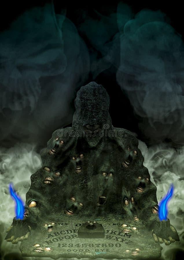 有蜡烛和恐怖面孔的蠕动的ouija委员会 皇族释放例证