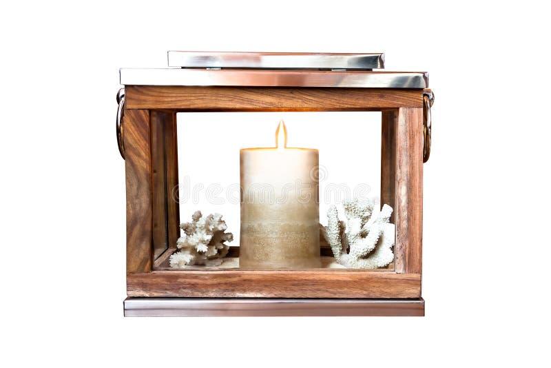 有蜡烛的被隔绝的灯笼 库存照片