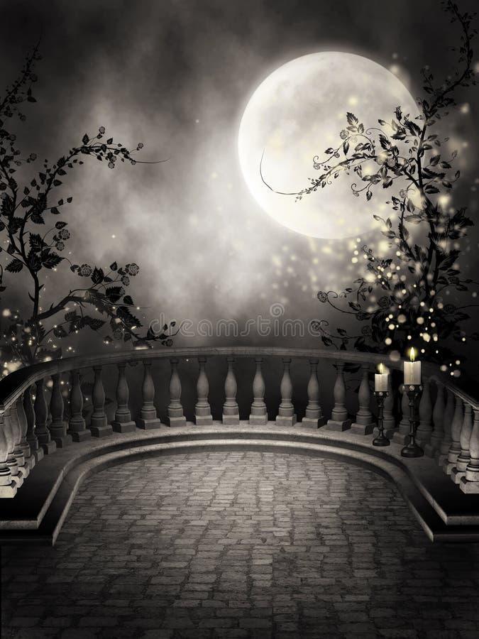 有蜡烛的黑暗的阳台 向量例证