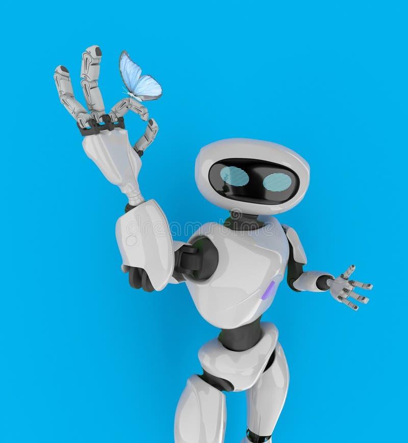 有蝴蝶的3d机器人回报 向量例证
