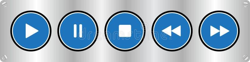 有螺丝的蓝色,白色音乐控制按钮 皇族释放例证