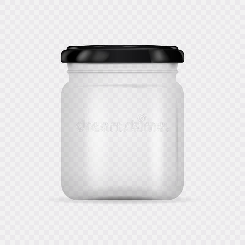 有螺帽的空的透明玻璃瓶子 皇族释放例证