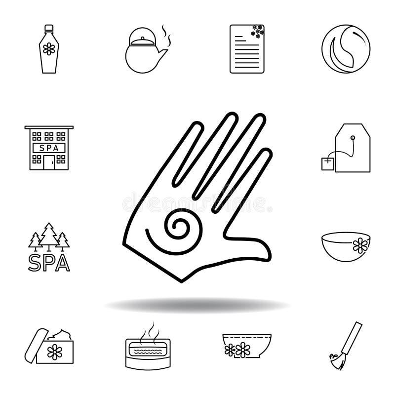 有螺旋标志概述象的手 详细的套温泉和放松例证象 能为网,商标,流动应用程序,UI使用 库存例证