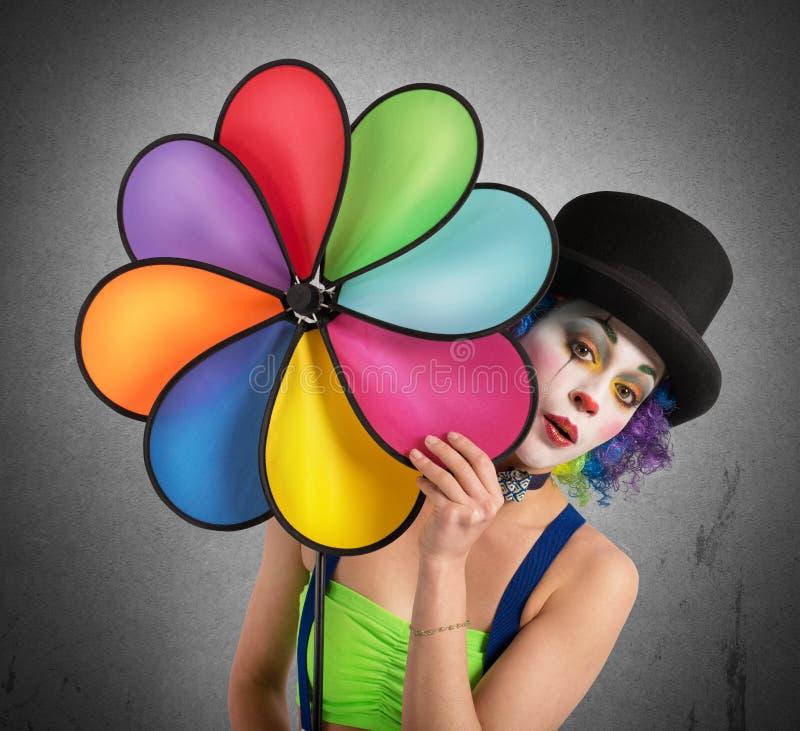 有螺旋的小丑 免版税库存照片